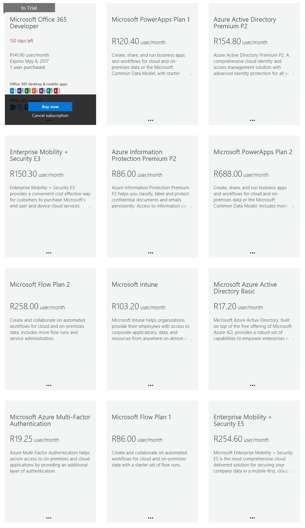Microsoft Office 365 subscriptions list
