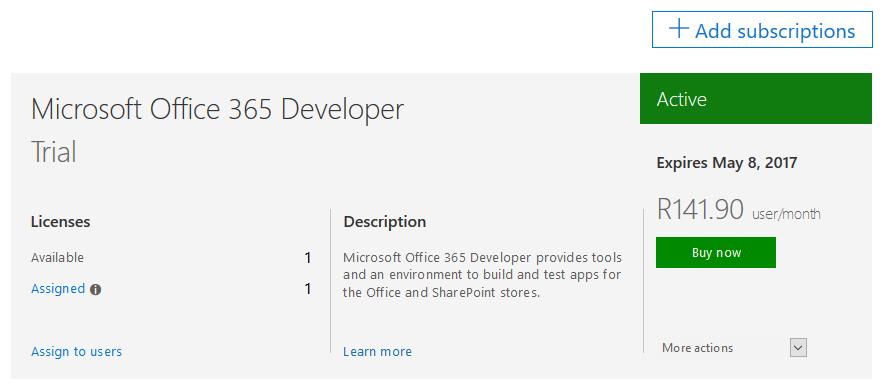 Microsoft Office 365 developer trial subscription screen