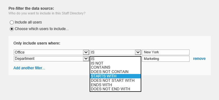 SharePoint Staff Directory Web Part - filtering options
