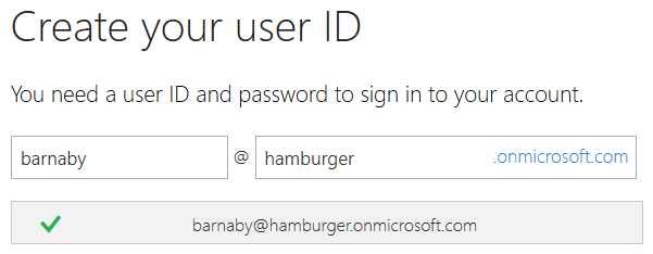 Create user ID for your onmicrosoft.com account