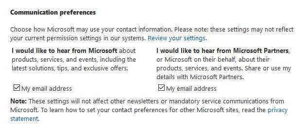 Microsoft communication preferences