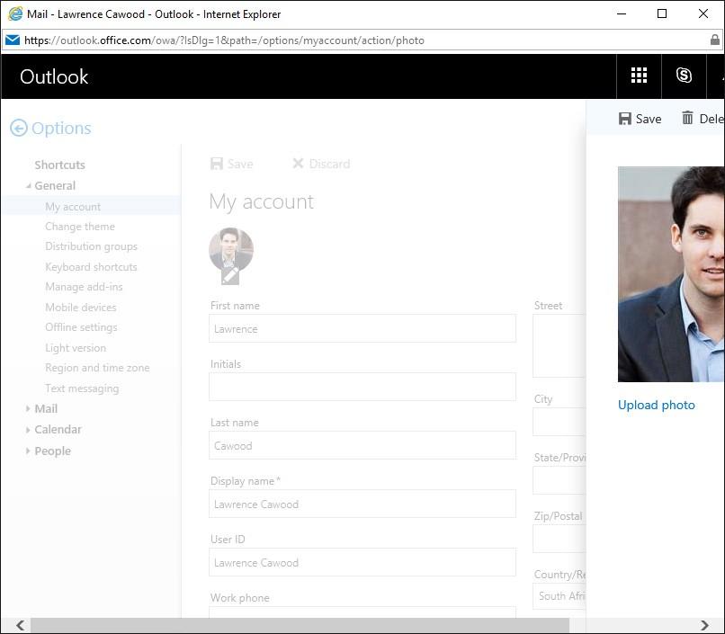 Outlook edit profile screen