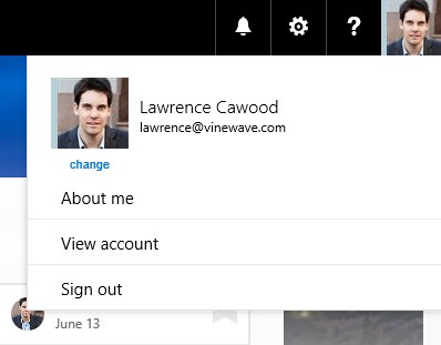 Office 365 top navigation bar profile picture
