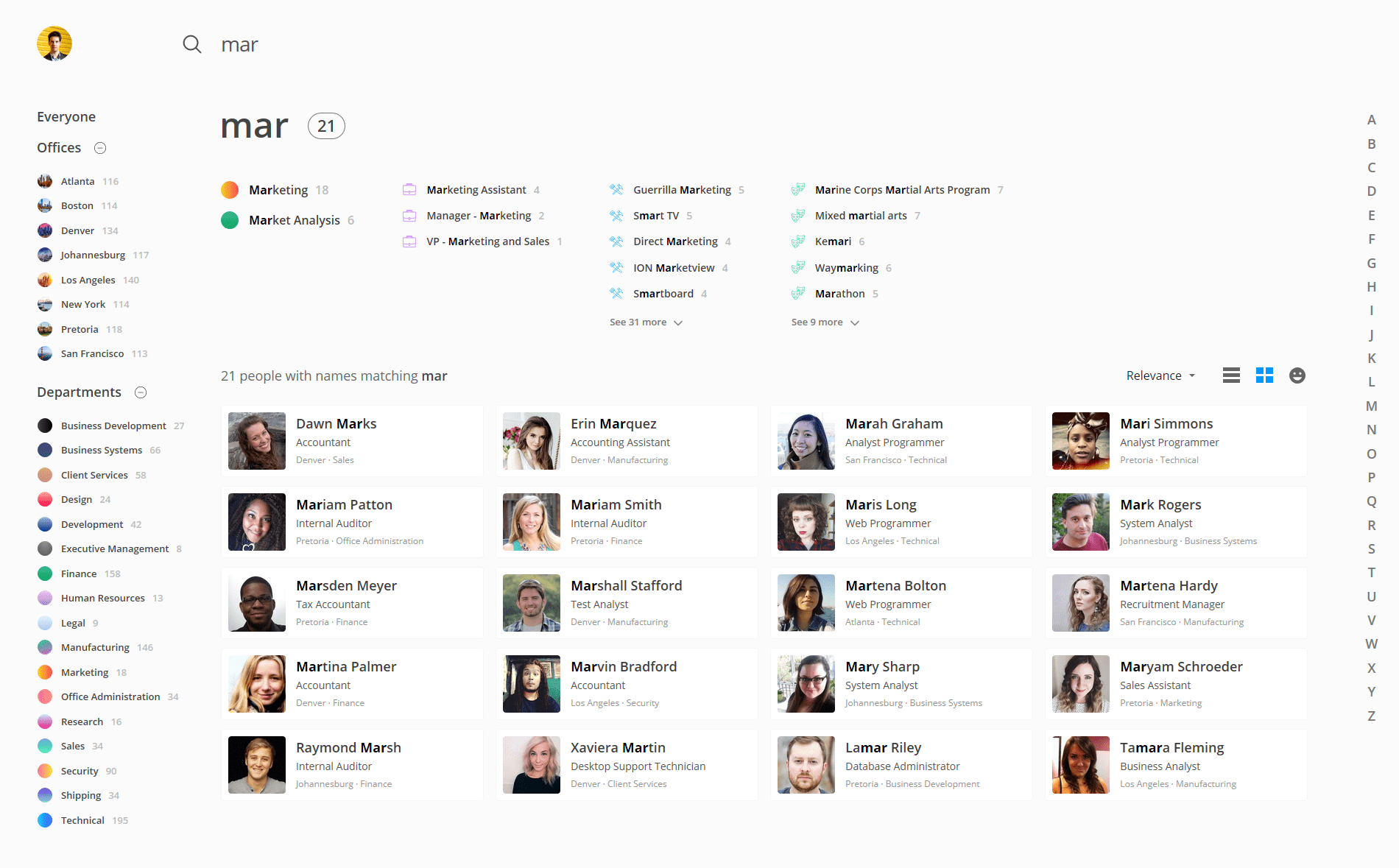 OneDirectory employee directory search results
